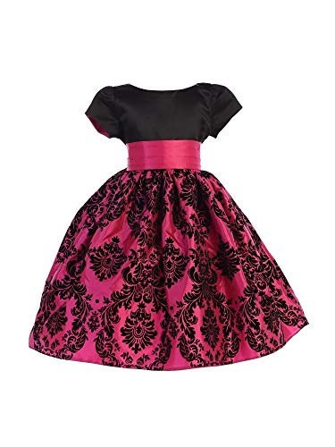 Ellie Kids Big Girls Black Fuchsia Satin Damask Taffeta Flower Girl Dress -