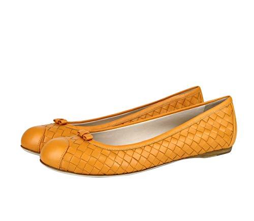Bottega Veneta Women's Orange Leather Woven Ballet Flat 297868 7609 (IT 39 / US 9)