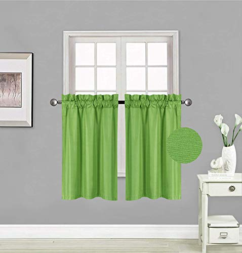 Rooney 2 Panels Thermal Insulated Blackout Tiers Curtain with White Back Lining Window Light Blocking Panel Drapes for Any Small Window (Lime Green, 30