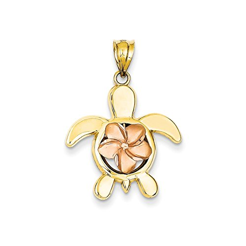 (Mireval 14k Two-Tone Gold Rose Plumeria Turtle Charm (20 x 28 mm))