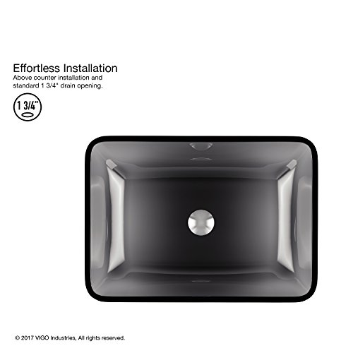 VIGO VG07082 Rectangular Sheer Black Glass Vessel Bathroom Sink by VIGO