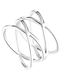 Womens Silver Stainless Steel Double X Criss Cross Ring Engagement Wedding Lady Girls Fashion Party Cocktail Rings Wide Band