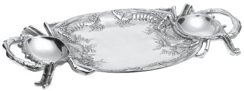Coastal Christmas Tablescape Décor - Large handcrafted silver aluminum alloy crab serving platter by Arthur Court Designs