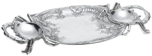 Coastal Christmas Tablescape Décor - Large handcrafted silver aluminum alloy crab serving platter by Arthur Court Designs