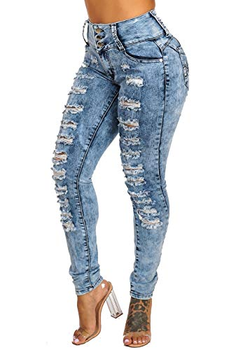 ModaXpressOnline Acid Wash Butt Lifting High Waisted Distressed 3 Button Skinny Jeans 10166N