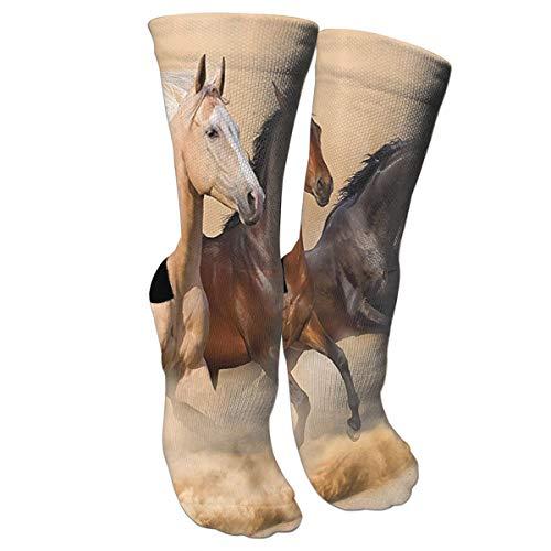 BSHJA Unisex Fun Socks - Colorful Funky Socks for Unisex - Three Horse Running in Desert Storm Patterned Socks