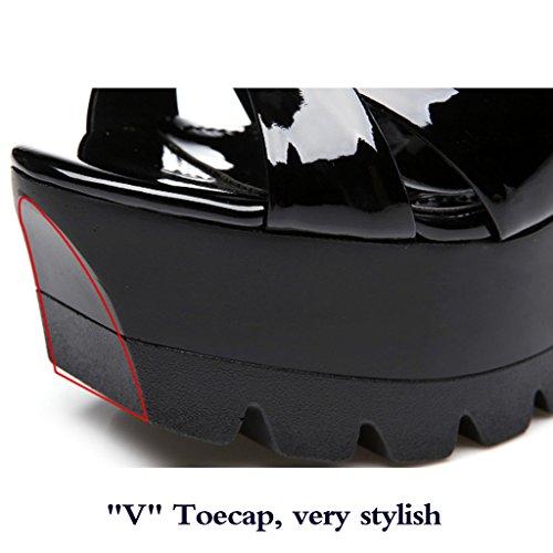 Black A Tacones Tacón Mujer Sandalias Verano Zapatos Plataforma Boca Nuevas De Alto Cuero Genuino Pescado Grueso Prueba Altos Agua w1qx7HwU