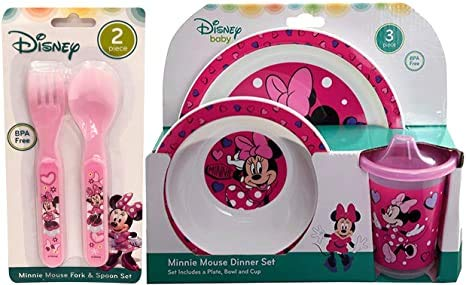 Minnie Mouse 5pc Toddler Mealtime Set! Plate, Bowl, Sippy cup, Fork & Spoon! BPA Free