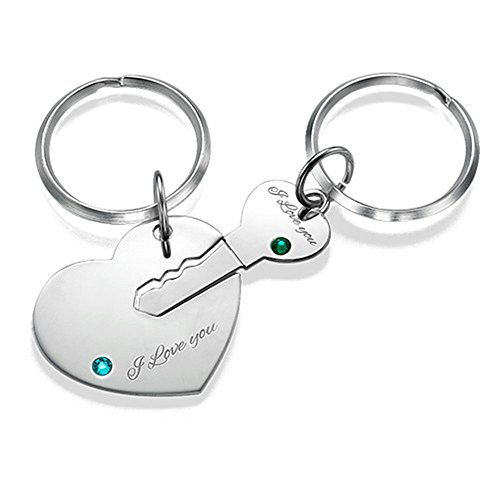 Additional Charms Initial (Customize 2pcs Heart Key Ring With Birthstone Lovers Key Chain Valentine's Day gift Keyring - Silver)