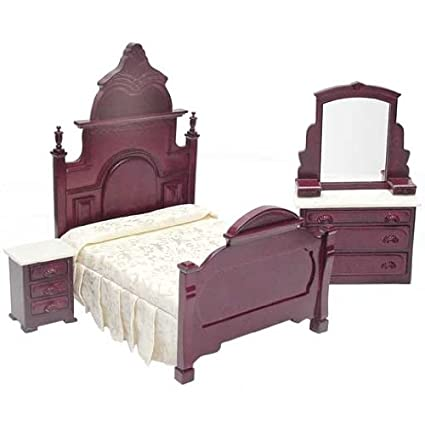 Amazon.com: Dollhouse Miniature 3-Pc. Marble Top Mahogany Bedroom ...