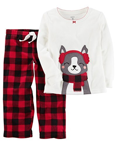 9b13b9505892 Carter s Girls  12M-12 2 Piece Earmuff Dog Fleece Pajamas Red 3T ...