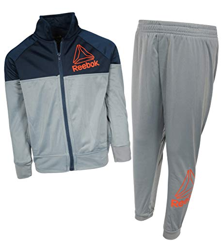 Reebok Boys 2-Piece Tricot Performance Zip Up Jacket and Matching Jogger Tracksuit Set, Grey/Blue, Size 5'