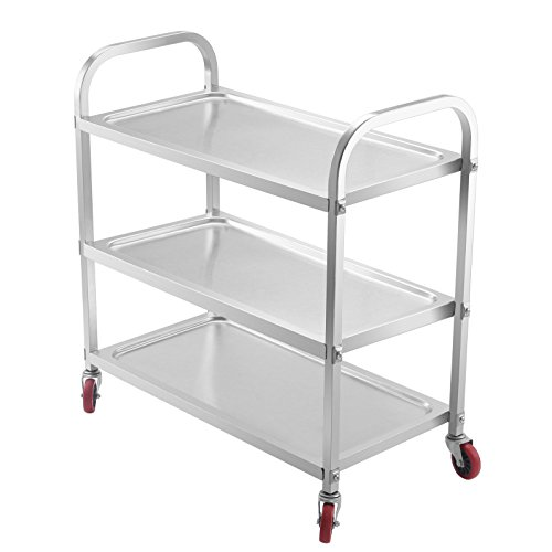 OrangeA Utility Cart 3 Shelf Utility Cart on Wheels 330Lbs Stainless Steel Cart Commercial Bus Cart Kitchen Food Catering Rolling Dolly (3 Shelf)