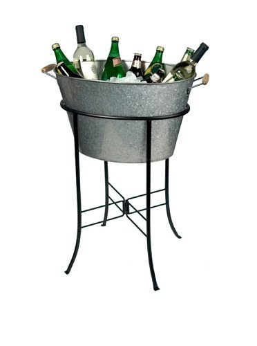 Artland Masonware Party Tub with Stand, Galvanized, Metal (Beverage Stand Bucket With)