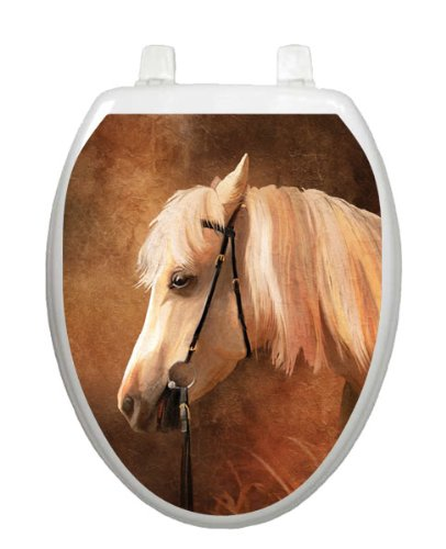 Painted Horse Tattoo TT-1085-O Elongated Rustic Country Theme Cover Bathroom