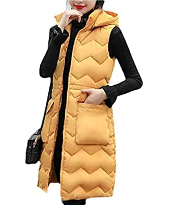 Women's Casual Zipper Slim Fit Long Puffer Hooded Down Vest Sleeveless Coat Yellow S