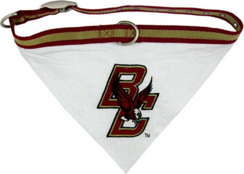NCAA BANDANA - BOSTON COLLEGE EAGLES DOG BANDANA with Reflective & Adjustable DOG COLLAR, Medium
