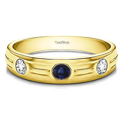 - 14k Yellow Gold Gent's Ring Diamonds (G-H,I2-I3) and Sapphire(0.48Ct) Size 3 To 15 in 1/4 Size Intervals
