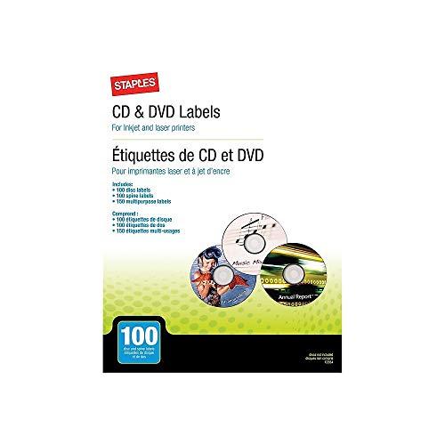(STAPLES 598385 Laser/Inkjet Media Labels Matte White 100/Pack (12354))