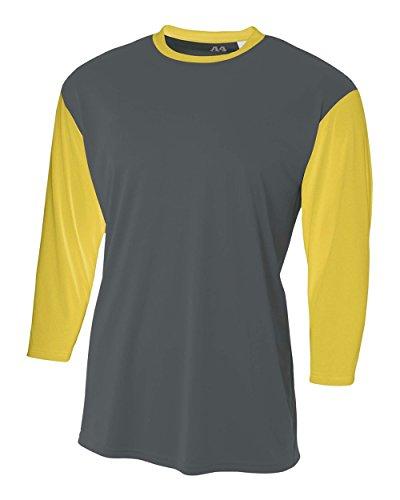 Graphite/Gold Youth XL 3/4 Sleeve Baseball/Softball Raglan Utility Shirt
