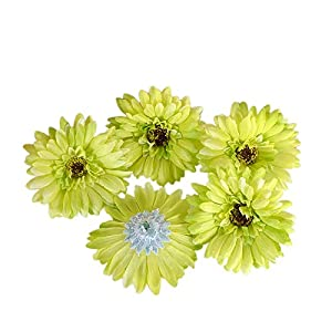 "Summer Flower Artificial Silk Chrysanthemum 4"" Gerberas Daisy Flower Head Sunflower for Wedding Home Party Decoration Hair Clip Wreath Decorative, Pack of 20(Green) 23"
