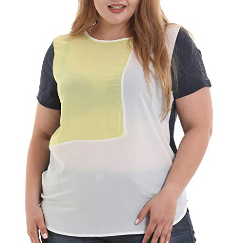 hositor Summer Plus Size Fashion Tops for Women, Women O-Neck Short Sleeve Patchwork Top T Shirt Ladies Blouse Yellow