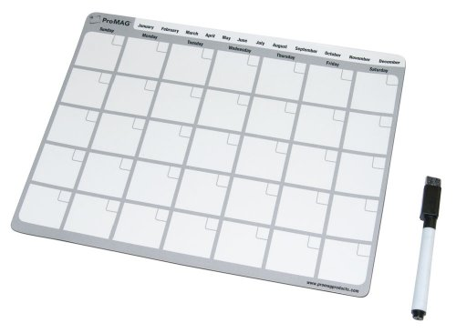 Whiteboard Eraser Pads (ProMAG 8.5 x 11 Inches Monthly Dry Erase Magnetic Calendar)