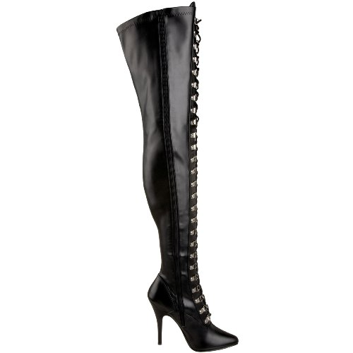 Seduce Women's PU Boot Stretch 3024 Black High Pleaser Tigh P1qTpWw