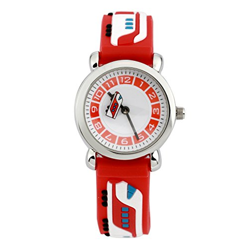 Eleoption Waterproof Kids Watch for Girls Boys Time Machine Analog Watch Toddlers Watch 3D Cute Cartoon Silicone Wristwatch Time Teacher for Little Kids Boys Girls Birthday Gift (Metro Red)