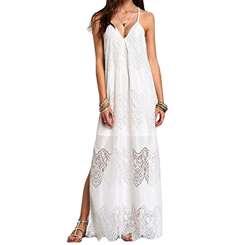 Monique Women Floral Lace Maxi Long Dress V Neck Spaghetti Strap Full Dress L