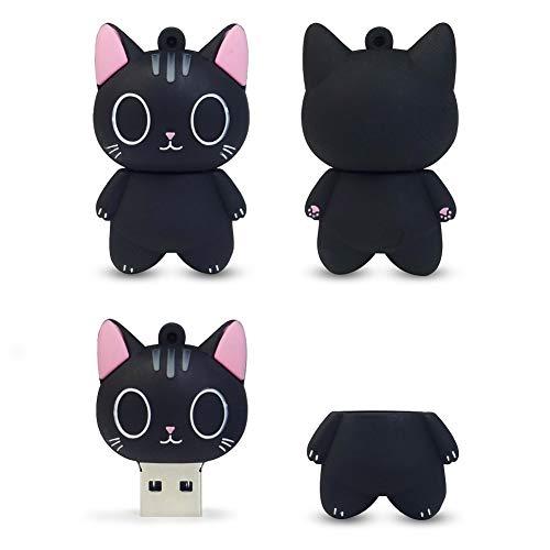 LEIZHAN Cute USB Flash Drive 16GB Cartoon Cat Pendrive Memory Thumb Stick USB2.0 Animal Jump Drive Character Data Storage Gift USB Disk Pendrive with Key Chain