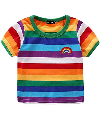 Ezsskj Kids Boys Children's Toddler Rainbow T-Shirt Short Sleeve Crew Neck Stripes Tee Tops (Rainbow Short, 3T)]()