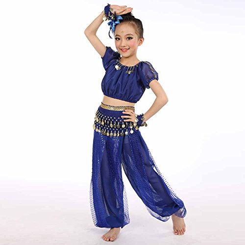 Children Girl Belly Dance Performance Costumes India Traditional Dance Pants Set (XL, Blue)