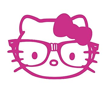Hello Kitty Nerd Glasses Face Pink Vinyl Decal Sticker CUSTOM - Hello kitty custom vinyl stickers