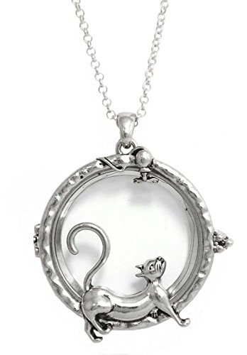 Redwood Open Work Silvertone Cat and Mouse Themed Magnifying Glass Pendant Necklace, 30