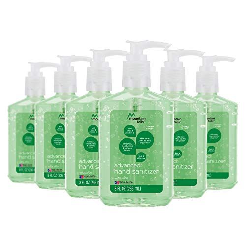 Mountain Falls Advanced Hand Sanitizer with Vitamin E and Aloe, Pump Bottle, 8 Fluid Ounce (Pack of 6)