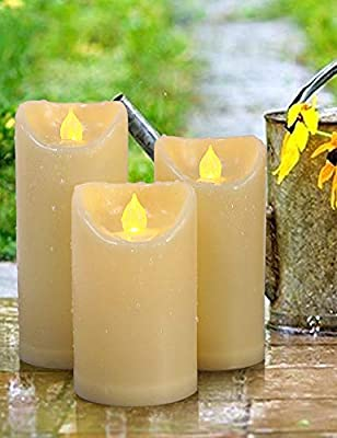 HOME MOST Set of 3 LED Pillar Candles Battery Operated - Waterproof Candles with Timer - Flickering Flameless Candles Fake Candles with Realistic Flame -Outdoor Home Decor Decorative Candles Flameless