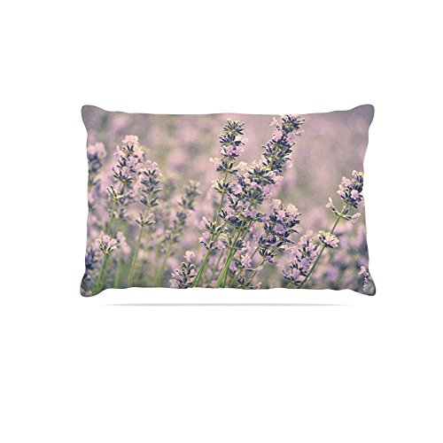 30 by 40\ Kess InHouse Robin Dickinson Smell the Flowers  Lavender Green Fleece Dog Bed, 30 by 40