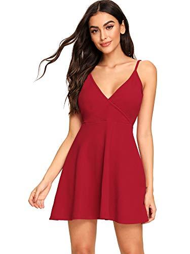SheIn Women's V Neck Adjustable Spaghetti Straps Sleeveless Sexy Backless Dress X-Small #Red