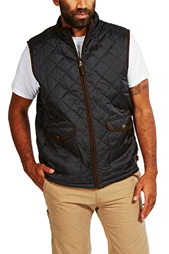 Tactical High Vis Reversible Jacket (Coleman Quilted Zip-Front Vest With Suede Trim and Fleece Lining (XX Large, Black))