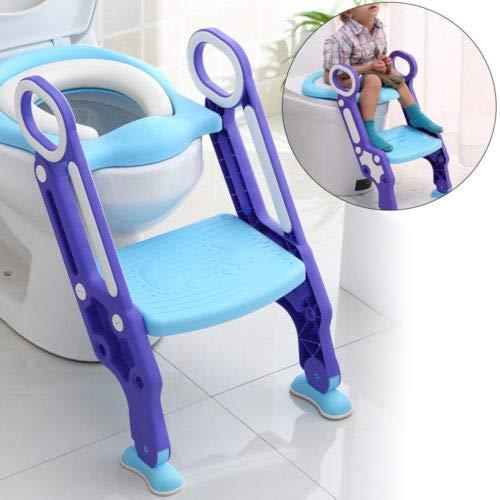 DiLiBee Riduttore WC per Bambini con Scaletta Pieghevole,Toilette per bambini Sedili per WC antiscivolo stabile e regolabile in altezza