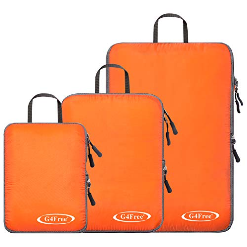G4Free 3 pcs Compression Packing Cubes – Ultralight Travel Gear Luggage Weekender Accessories Organizer Bags Set(Orange)
