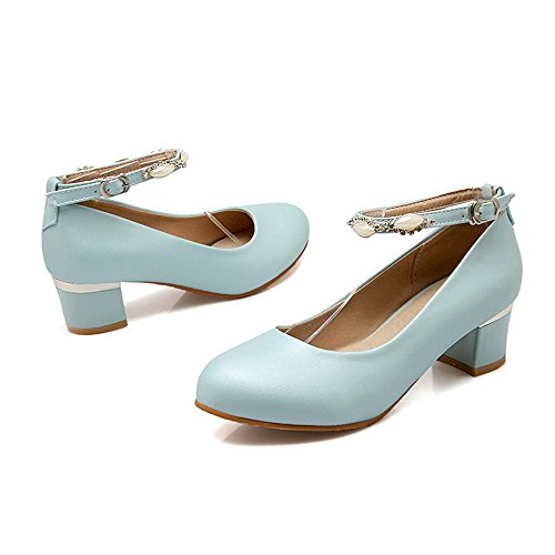 AmoonyFashion Womens Buckle Round Closed Toe Kitten-Heels Pu Solid Pumps-Shoes Blue vclhsf