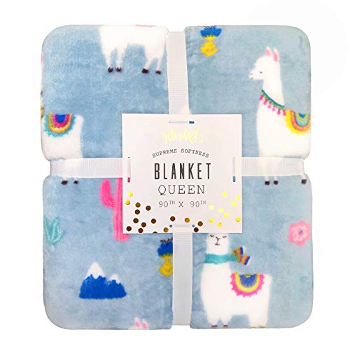 "Saturdaze Llama Corn Supreme Softness Plush Queen Size Blanket Throw, 90"" x 90"", Blue"
