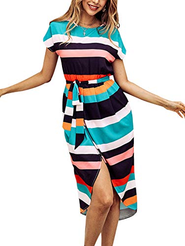 TEMOFON Womens Dresses Summer Casual Floral Geometric Pattern Short Sleeve Midi V-Neck Party Dress with Belt Striped L