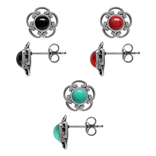 (3-Pair Set Created Onyx, Created Coral & Created Turquoise 925 Sterling Silver Flower Stud/Post Earrings)