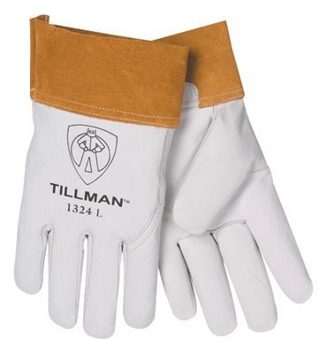 Tillman Large Pearl Top Grain Goatskin Standard Grade TIG Welders Gloves With Wing Thumb, 4'' Cuff, Seamless Forefinger And Kevlar® Lock Stitching