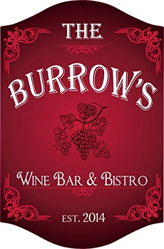 Grape Vine Personalized Wine Bar Sign in Red with Your Custom Name & Established Date - Home Bar Decor - Bar & Bistro Signs