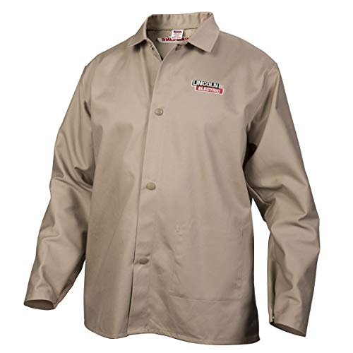 Lincoln Electric Premium Flame Resistant (FR) Cotton Welding Jacket | Comfortable | Khaki / Tan | Medium | K3317-M