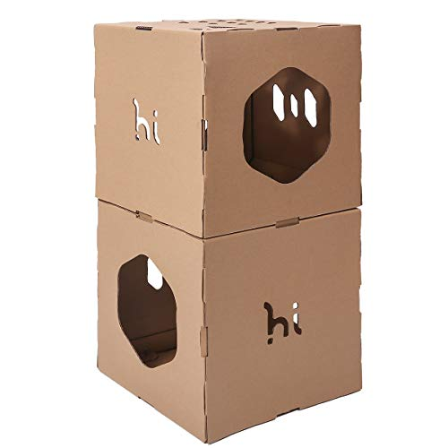 Tunnel Cat Tree - Hi Animal Modern Cat Tunnel Cubes & Modular Cat Tree - House & Condo for Cats with Stickers DIY, Build Your Own Fully Customizable Cat House Cat Furniture (2-Pack)